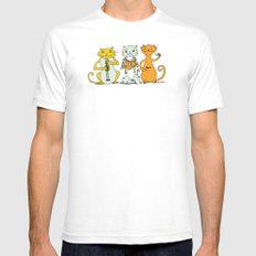Cat Trio Mens Fitted Tee White SMALL