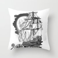 The Sea Route To The Moo… Throw Pillow