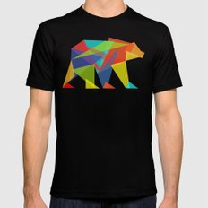 Fractal Geometric bear Mens Fitted Tee SMALL Black