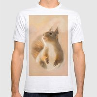 Squirrel, oil and chalk painted squirrel Mens Fitted Tee Ash Grey SMALL