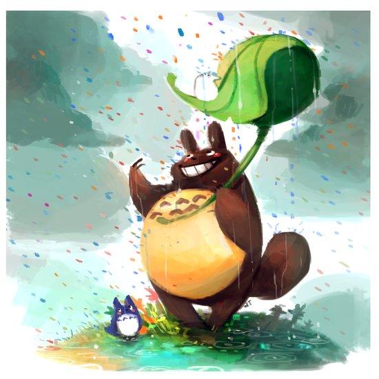 Totoro Rainbow rain Art Print