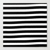 Brushy Stripes - Black Canvas Print