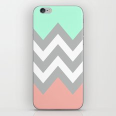 DOUBLE COLORBLOCK CHEVRON {MINT/CORAL/GRAY} iPhone & iPod Skin