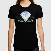 Diamond And Skulls Womens Fitted Tee Black SMALL