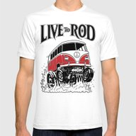 1964 VW MICROBUS HOT ROD Mens Fitted Tee White SMALL