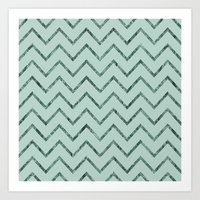 Mint Glam Chevron Zigzag Stripes Art Print
