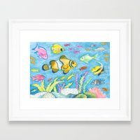 Crayon Fish #3 Framed Art Print