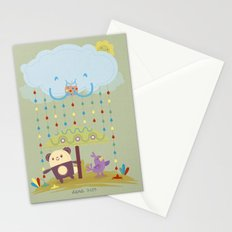 color raindrops keep falling on my head Stationery Cards