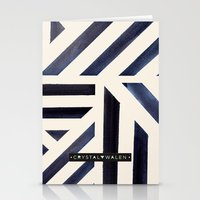 Watercolor Stripe Midnight Stationery Cards