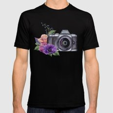 Photo camera with flowers Mens Fitted Tee SMALL Black