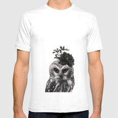 Portrait of Owl Mens Fitted Tee White SMALL