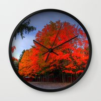 Falling for Red Wall Clock