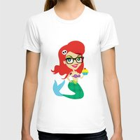 Hipster Mermaid Womens Fitted Tee White SMALL