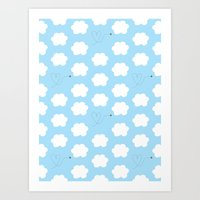 Cloud and Bee Pattern Art Print