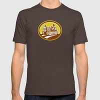 Farmer Drive Vintage Tra… Mens Fitted Tee Brown SMALL