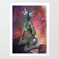 Tribal  mask girl Art Print