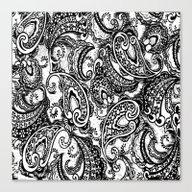 Paisley Batik Black Canvas Print