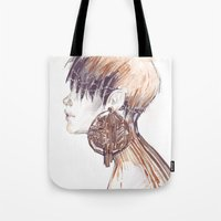 Fashion illustration profile portrait gold black white markers and watercolors Tote Bag