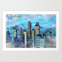 Geometric City 1 - Lands… Art Print