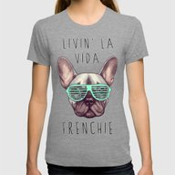 French Bulldog - Livin' … Womens Fitted Tee Tri-Grey X-LARGE