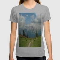Mountain Range in Austria Womens Fitted Tee Athletic Grey SMALL