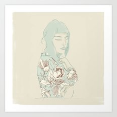 Girl with the blue hair Art Print
