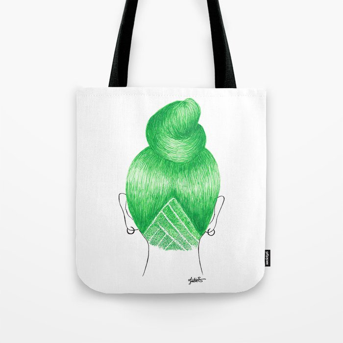 green hair girl bun shaved undercut tote bag art print drawing