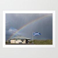 Rainbow on the Beach Art Print