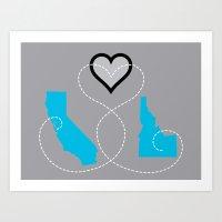 California - Idaho Love  Art Print