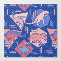 Nineties Dinosaurs Pattern  - Rose Quartz and Serenity version Canvas Print