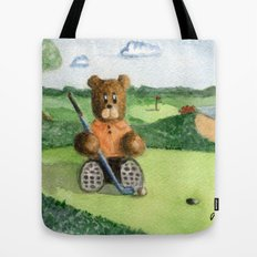 Golfer Bear Tote Bag