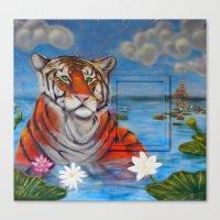 Bathing Tiger Canvas Print