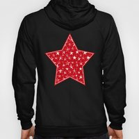White stars abstract on bold red background illustration Hoody