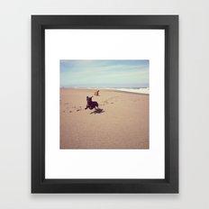 Two Dachshunds on Beach Framed Art Print