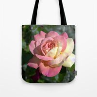 Pretty pink rose garden flower. Floral nature photography.   Tote Bag