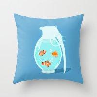 Fish Grenade Throw Pillow