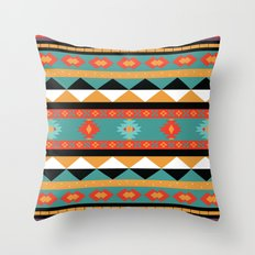 Geometric Aztec Tribal Pattern - in amethyst, sienna, orange and purple Throw Pillow