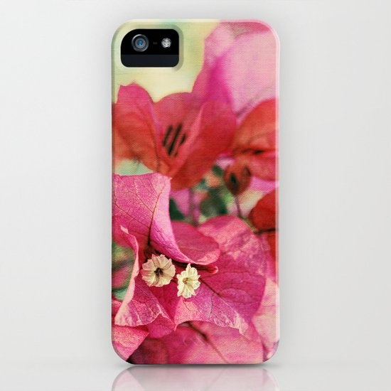 Vintage Bougainvillea Flowers in pink & green with textures iPhone & iPod Case