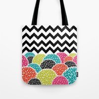Tropical Flowers Chevron Tote Bag