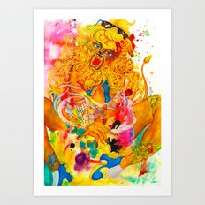 Leo: The Proud Lion (July 23 - August 22) / Gouache Original A4 Horoscope Illustration / Painting Art Print