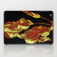 embroidered iris on black background iPad Case