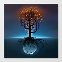 Tree, Candles, and the Moon Canvas Print