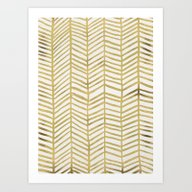 Gold Herringbone Art Print