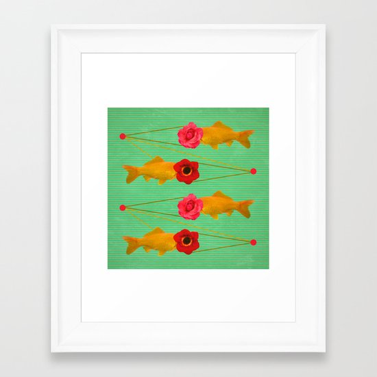 fishes and flowers Framed Art Print