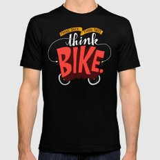 Think Once. Think Twice. Think Bike. Black SMALL Mens Fitted Tee