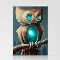 owl Stationery Cards featuring Night Owl by Chump Magic
