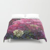 Pink Flowers at Twilight Abstract Duvet Cover