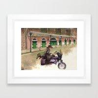 French Quarter Motorcycle Guitarist Framed Art Print