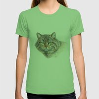 Street Cat portrait CC1402 Womens Fitted Tee Grass SMALL