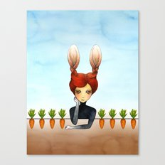 the rabbit girl with planted carrots Canvas Print